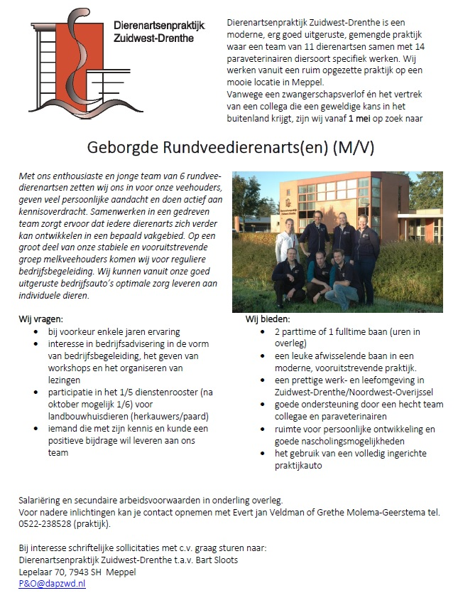 vacature dierenarts Meppel Drenthe
